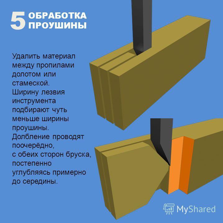 ОБРАБОТКА ПРОУШИНЫ 5 Удалить материал между пропилами долотом или стамеской. Ширину лезвия инструмента подбирают чуть меньше ширины проушины. Долбление проводят поочерёдно, с обеих сторон бруска, постепенно углубляясь примерно до середины.