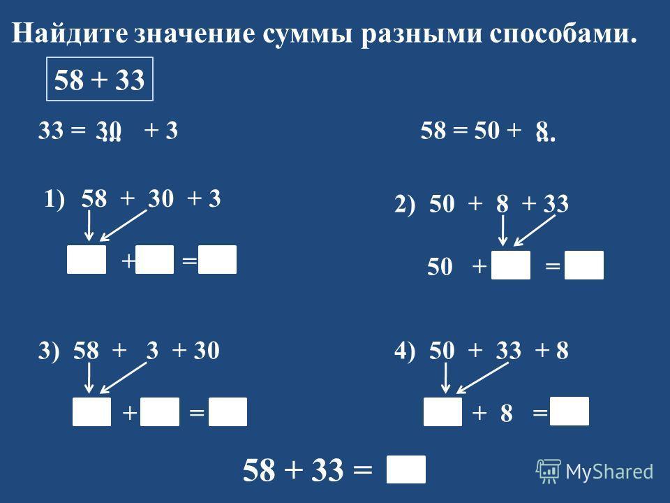 Найдите значение суммы разными способами. 58 + 33 33 = + 3 1)58 + 30 + 3 88 + 3 = 91 58 = 50 + …… 2) 50 + 8 + 33 50 + 41 = 91 3) 58 + 3 + 30 61 + 30 = 91 4) 50 + 33 + 8 83 + 8 = 91 58 + 33 = 91 308