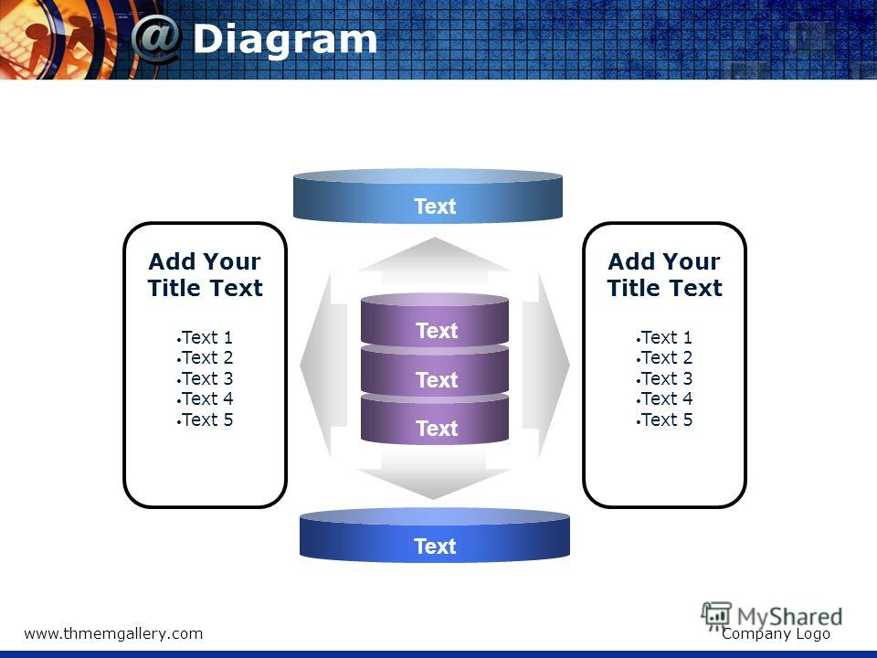 www.thmemgallery.comCompany Logo Diagram Text Add Your Title Text Text 1 Text 2 Text 3 Text 4 Text 5 Add Your Title Text Text 1 Text 2 Text 3 Text 4 Text 5 Text