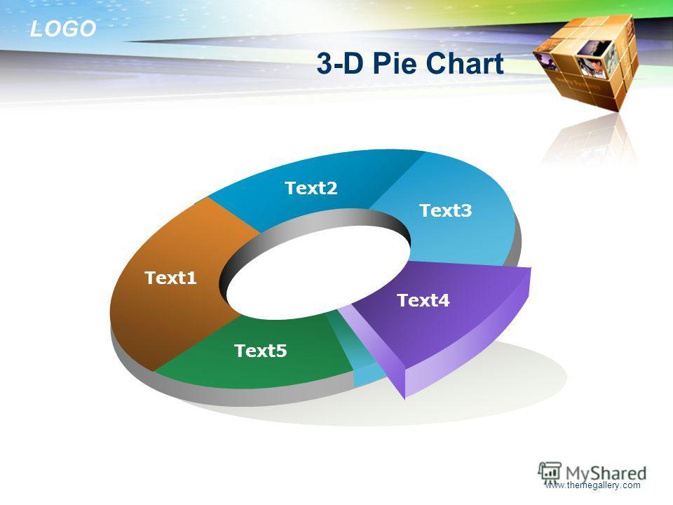 LOGO www.themegallery.com Text1 Text2 Text3 Text4 Text5 3-D Pie Chart