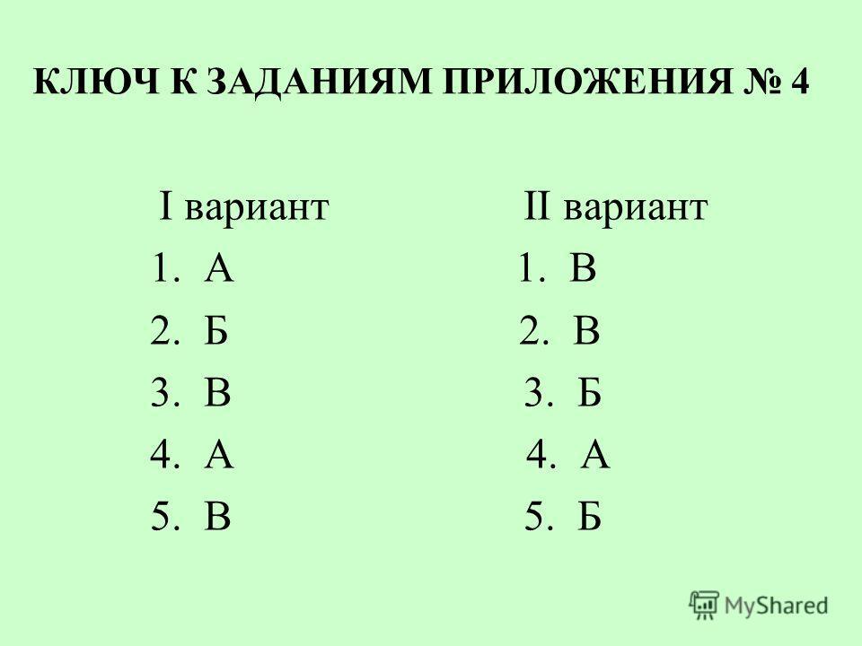 КЛЮЧ К ЗАДАНИЯМ ПРИЛОЖЕНИЯ 4 I вариант II вариант 1. А 1. В 2. Б 2. В 3. В 3. Б 4. А 4. А 5. В 5. Б