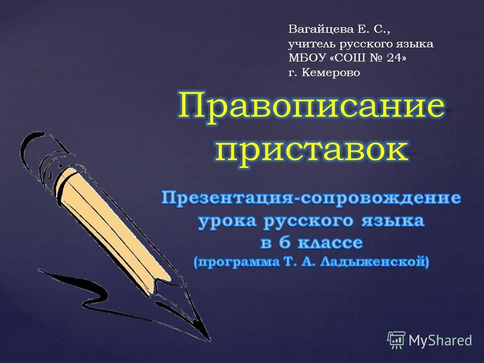 Вагайцева Е. С., учитель русского языка МБОУ «СОШ 24» г. Кемерово