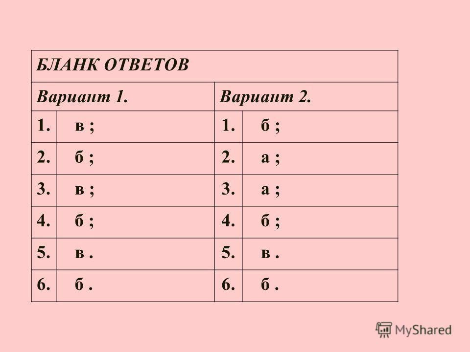 БЛАНК ОТВЕТОВ Вариант 1. Вариант 2. 1. в ;1. б ; 2. б ;2. а ; 3. в ;3. а ; 4. б ;4. б ; 5. в.5. в. 6. б.6. б.