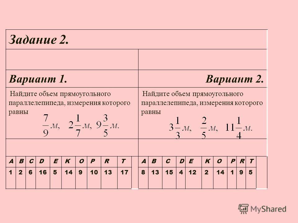 Задание 2. Вариант 1. Вариант 2. Найдите объем прямоугольного параллелепипеда, измерения которого равны ABCDEKOPRTABCDEKOPRT 12616514910131781315412214195