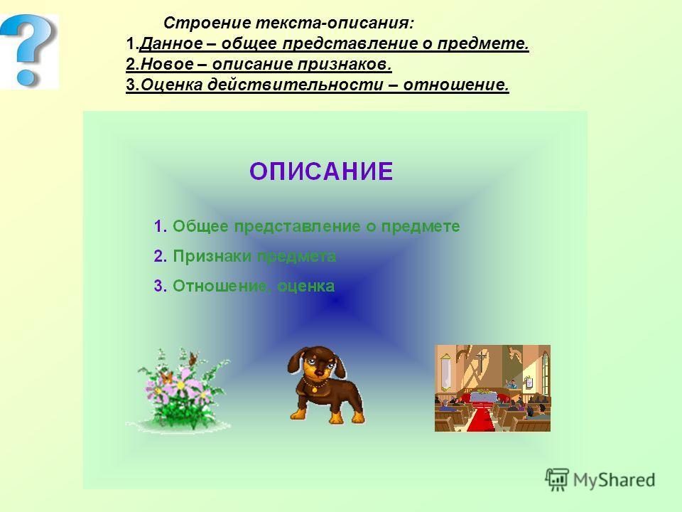 Строение текста-описания: 1. Данное – общее представление о предмете. 2. Новое – описание признаков. 3. Оценка действительности – отношение.