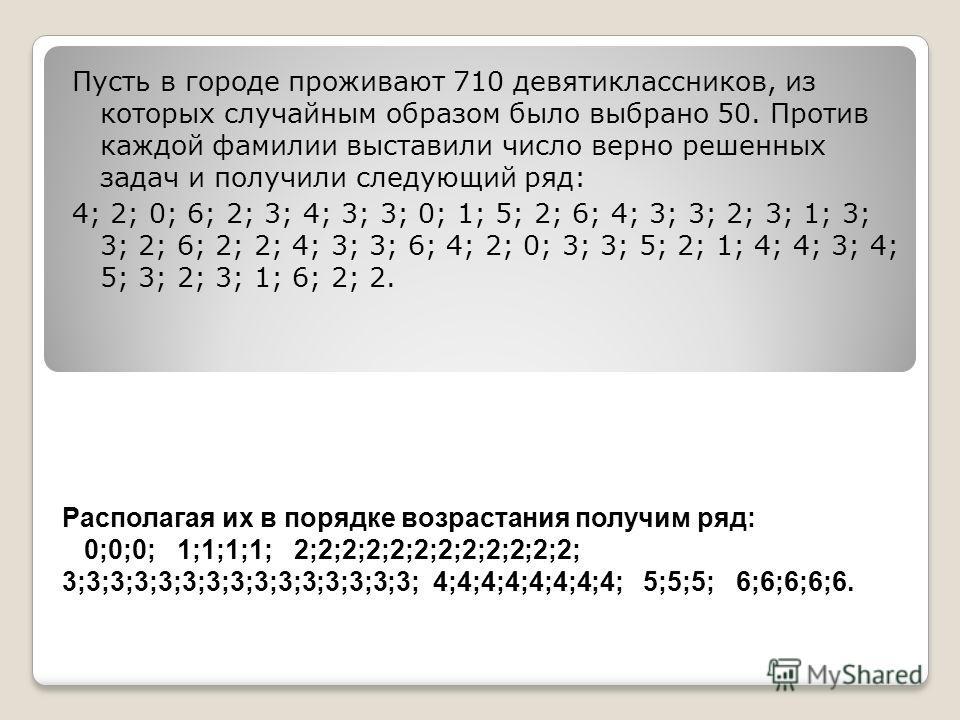 Располагая их в порядке возрастания получим ряд: 0;0;0; 1;1;1;1; 2;2;2;2;2;2;2;2;2;2;2;2; 3;3;3;3;3;3;3;3;3;3;3;3;3;3;3; 4;4;4;4;4;4;4;4; 5;5;5; 6;6;6;6;6. Пусть в городе проживают 710 девятиклассников, из которых случайным образом было выбрано 50. П
