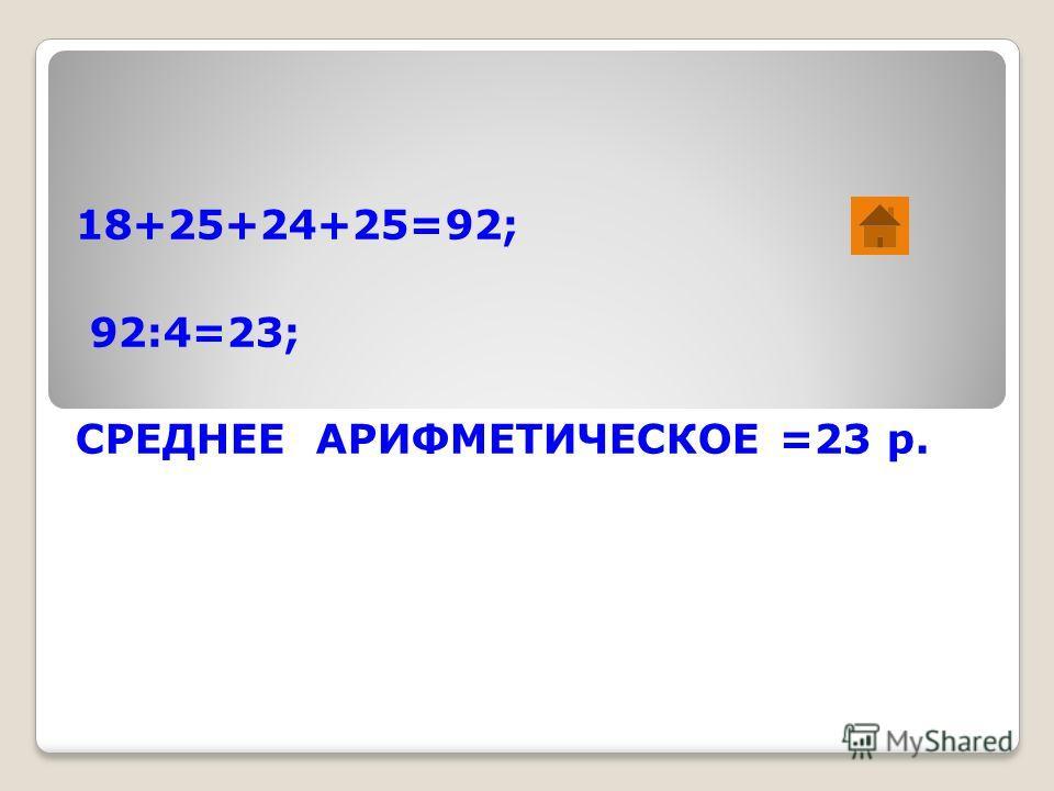 18+25+24+25=92; 92:4=23; СРЕДНЕЕ АРИФМЕТИЧЕСКОЕ =23 р.