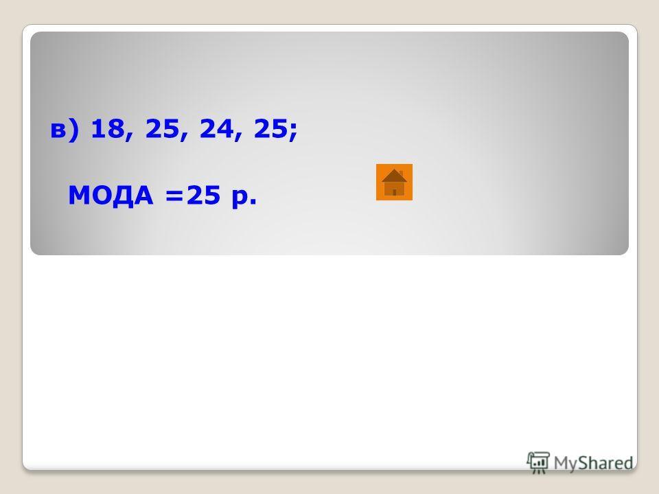 в) 18, 25, 24, 25; МОДА =25 р.