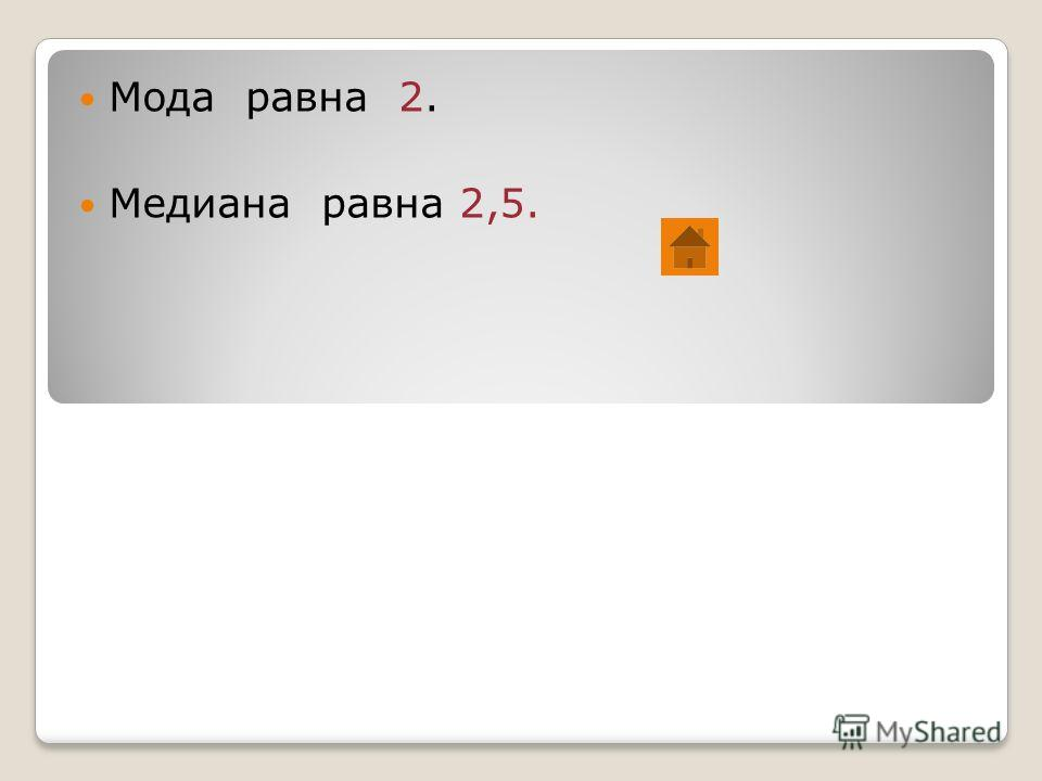 Мода равна 2. Медиана равна 2,5.
