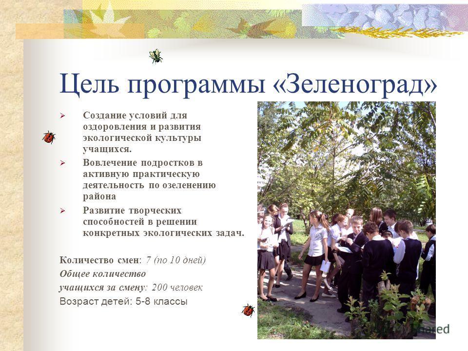 Цель программы «Зеленоград» Создание условий для оздоровления и развития экологической культуры учащихся. Вовлечение подростков в активную практическую деятельность по озеленению района Развитие творческих способностей в решении конкретных экологичес