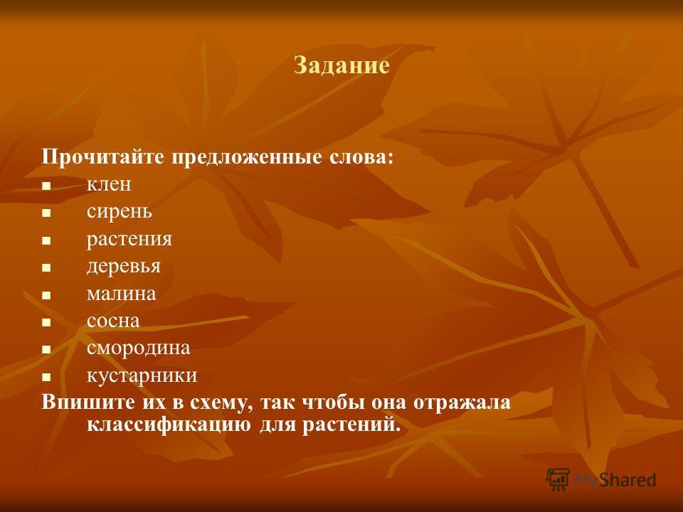 Задание Прочитайте предложенные слова: клен сирень растения деревья малина сосна смородина кустарники Впишите их в схему, так чтобы она отражала классификацию для растений.