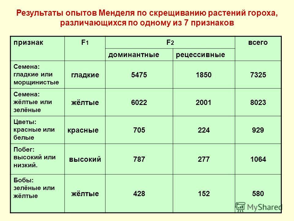 Результаты опытов Менделя по скрещиванию растений гороха, различающихся по одному из 7 признаков признакF1F1 F2F2 всего доминантныерецессивные Семена: гладкие или морщинистые гладкие 547518507325 Семена: жёлтые или зелёные жёлтые 602220018023 Цветы: