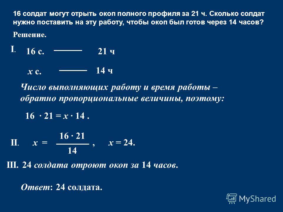 Ответ: 24 солдата. 16 · 21 14 =х х = 24., II. III. 24 солдата отроют окоп за 14 часов. Решение. 16 солдат могут отрыть окоп полного профиля за 21 ч. Сколько солдат нужно поставить на эту работу, чтобы окоп был готов через 14 часов? 16 с. х с. 21 ч 14