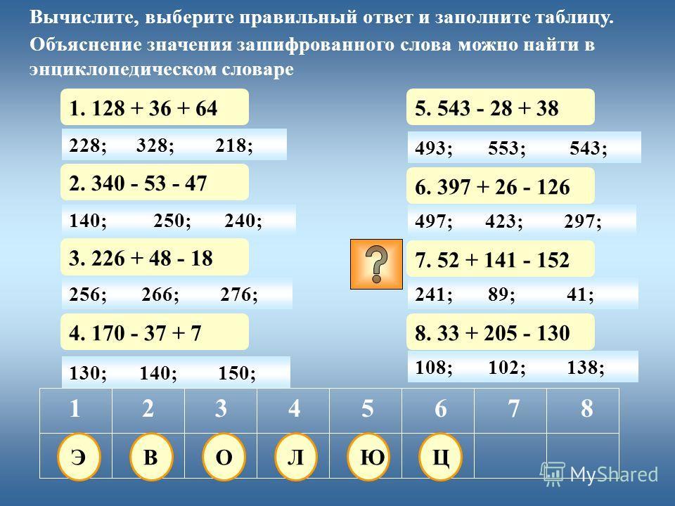 228; 1. 128 + 36 + 64 12345678 Вычислите, выберите правильный ответ и заполните таблицу. Объяснение значения зашифрованного слова можно найти в энциклопедическом словаре 328;218; 130; 2. 340 - 53 - 47 140;150; 3. 226 + 48 - 18 4. 170 - 37 + 7 5. 543