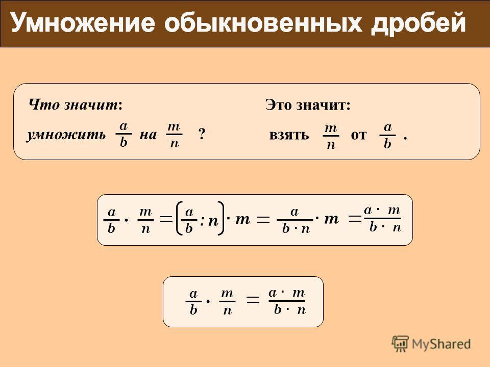 b a b a n m. : n b · nb · n a Что значит: умножить на ? n m b a Это значит: взять от. n m b a · m · m· m b · nb · n a · ma · m b a n m. b · nb · n a · ma · m