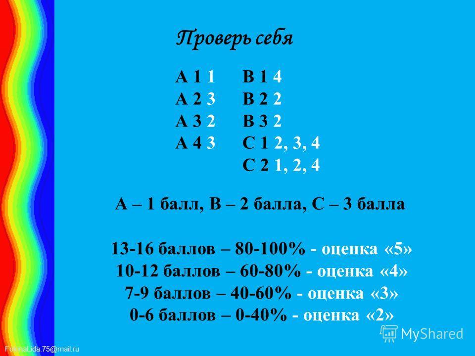 FokinaLida.75@mail.ru Проверь себя А 1 1 А 2 3 А 3 2 А 4 3 А – 1 балл, В – 2 балла, С – 3 балла В 1 4 В 2 2 В 3 2 С 1 2, 3, 4 С 2 1, 2, 4 13-16 баллов – 80-100% - оценка «5» 10-12 баллов – 60-80% - оценка «4» 7-9 баллов – 40-60% - оценка «3» 0-6 балл