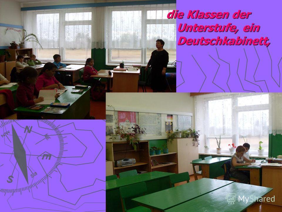 die Klassen der Unterstufe, ein Deutschkabinett,