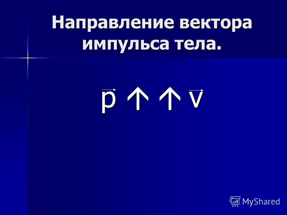 Направление вектора импульса тела. р v