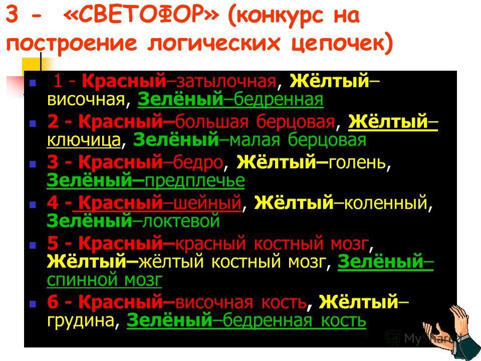 3 - «СВЕТОФОР» (конкурс на построение логических цепочек) 1 - Красный–затылочная, Жёлтый– височная, Зелёный–бедренная 2 - Красный–большая берцовая, Жёлтый– ключица, Зелёный–малая берцовая 3 - Красный–бедро, Жёлтый–голень, Зелёный–предплечье 4 - Красн