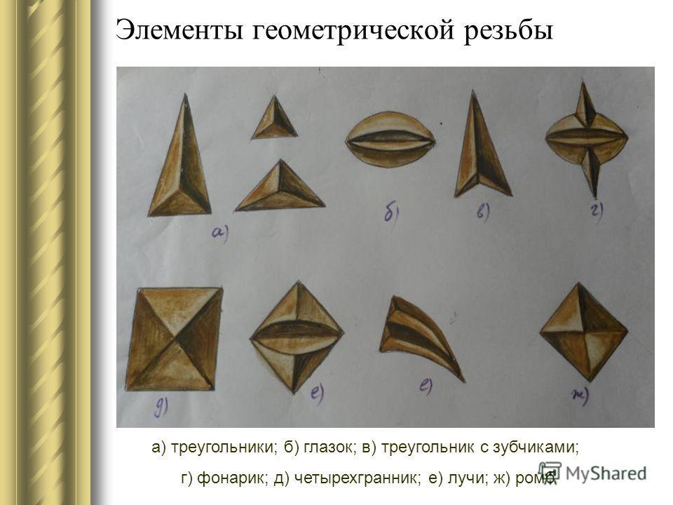Элементы геометрической резьбы а) треугольники; б) глазок; в) треугольник с зубчиками; г) фонарик; д) четырехгранник; е) лучи; ж) ромб