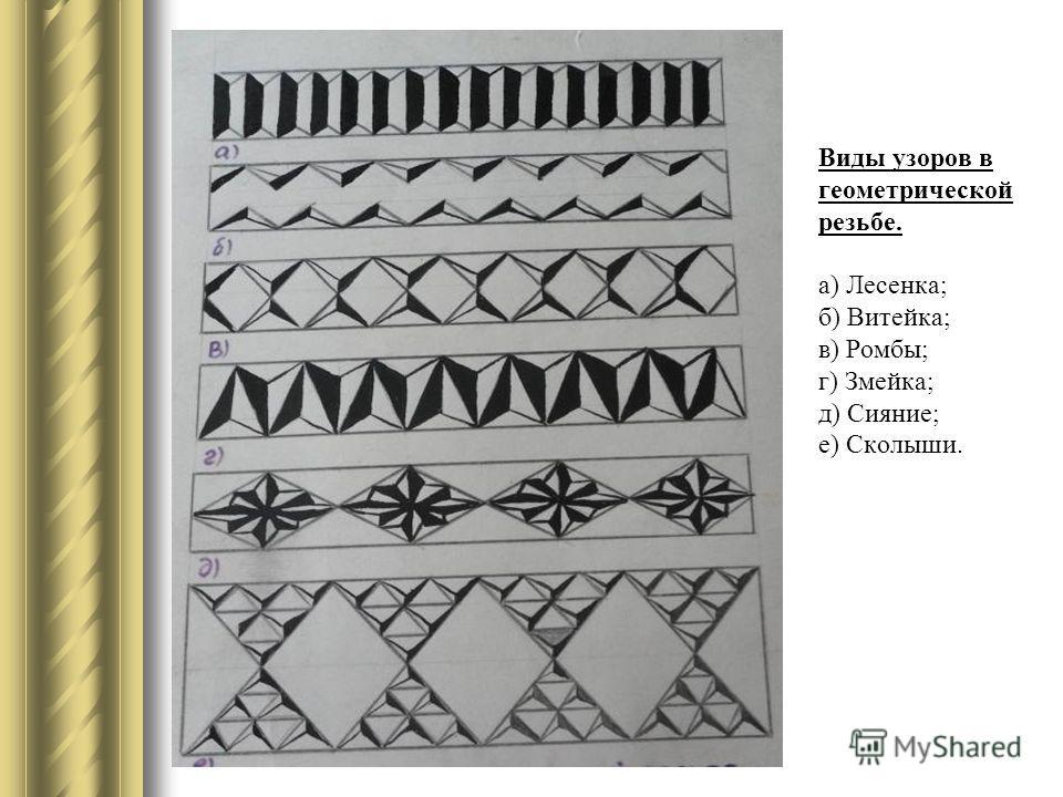 Виды узоров в геометрической резьбе. а) Лесенка; б) Витейка; в) Ромбы; г) Змейка; д) Сияние; е) Сколыши.