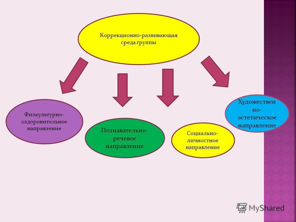 Коррекционно-развивающая среда группы Физкультурно- оздоровительное направление Познавательно- речевое направление Социально- личностное направление Художествен но- эстетическое направление