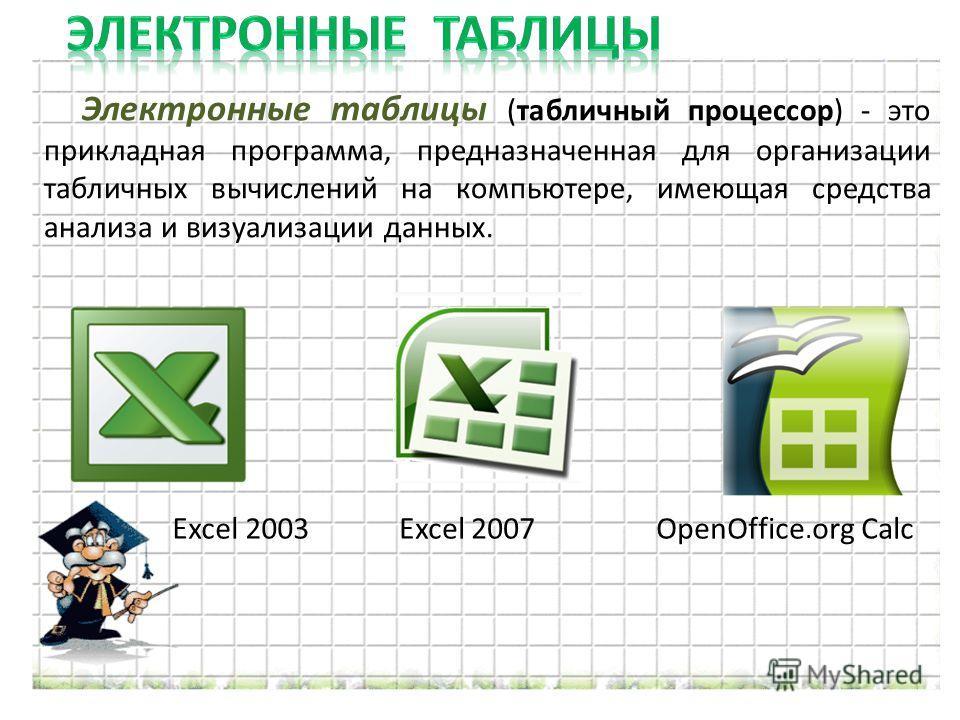 Электронные таблицы (табличный процессор) - это прикладная программа, предназначенная для организации табличных вычислений на компьютере, имеющая средства анализа и визуализации данных. Excel 2003Excel 2007OpenOffice. org Calc