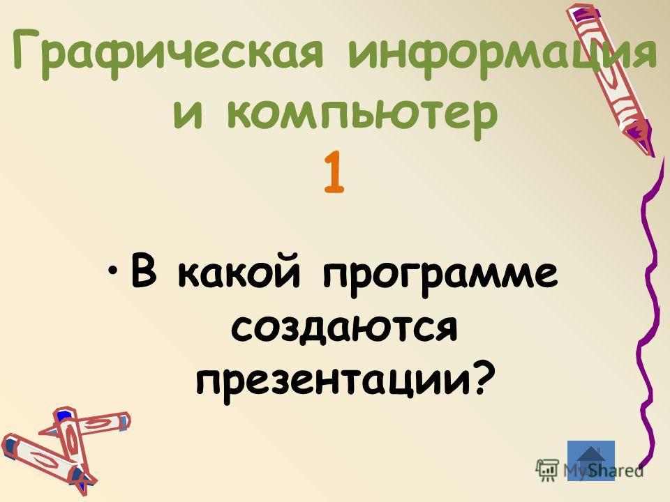 Графическая информация и компьютер 1 В какой программе создаются презентации?