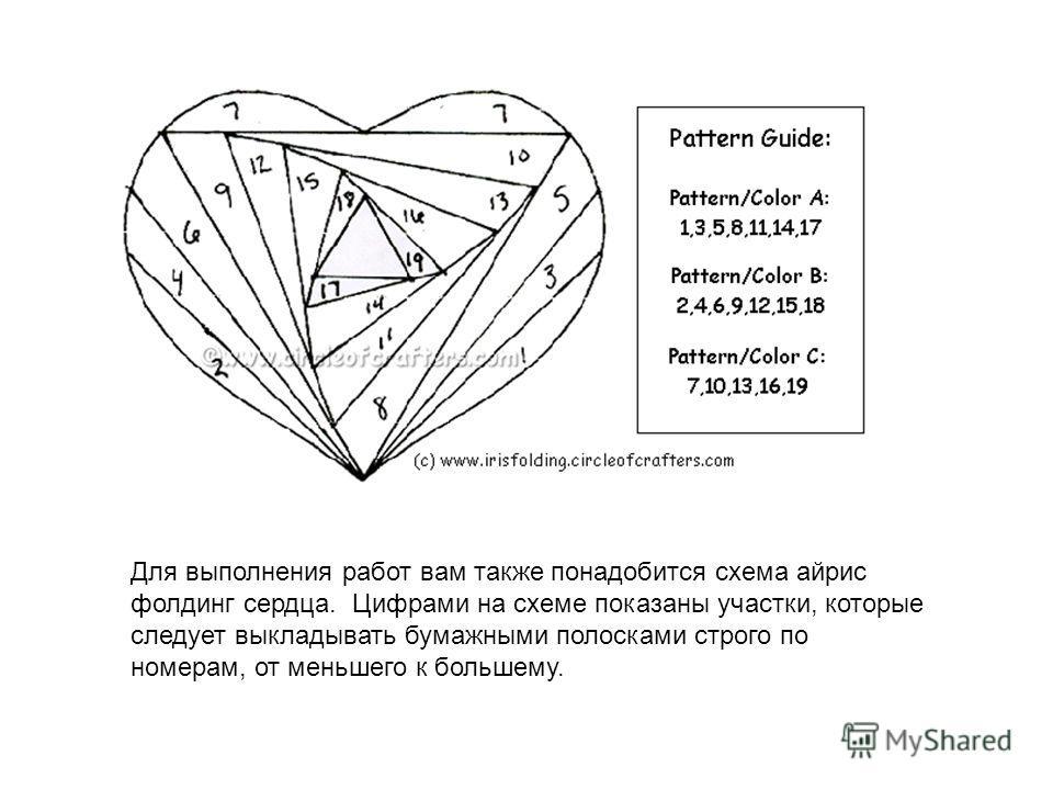 Для выполнения работ вам также понадобится схема айрис фолдинг сердца. Цифрами на схеме показаны участки, которые следует выкладывать бумажными полосками строго по номерам, от меньшего к большему.