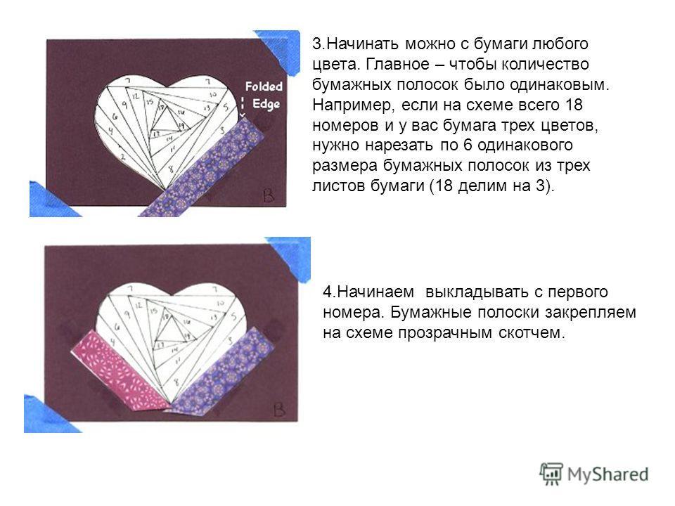 3. Начинать можно с бумаги любого цвета. Главное – чтобы количество бумажных полосок было одинаковым. Например, если на схеме всего 18 номеров и у вас бумага трех цветов, нужно нарезать по 6 одинакового размера бумажных полосок из трех листов бумаги