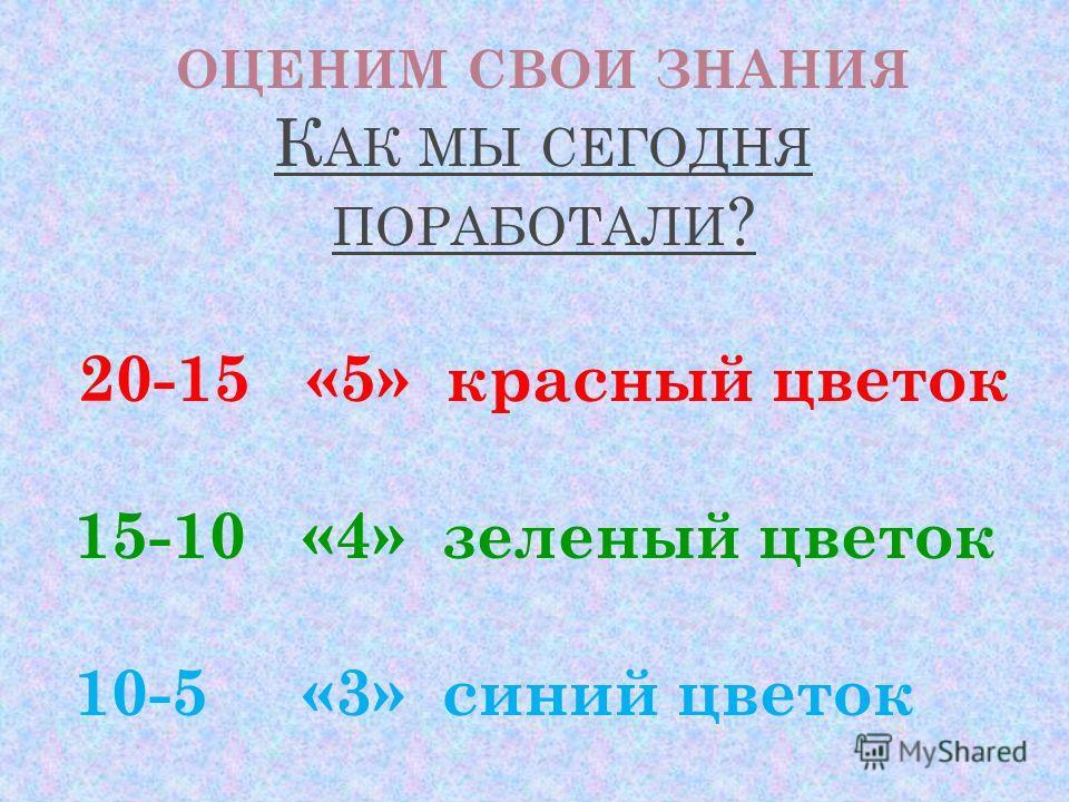ОЦЕНИМ СВОИ ЗНАНИЯ К АК МЫ СЕГОДНЯ ПОРАБОТАЛИ ? 20-15 «5» красный цветок 15-10 «4» зеленый цветок 10-5 «3» синий цветок