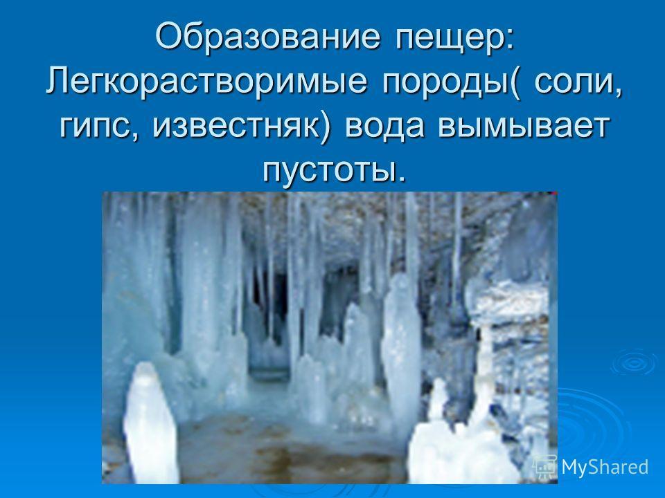 Образование пещер: Легкорастворимые породы( соли, гипс, известняк) вода вымывает пустоты.