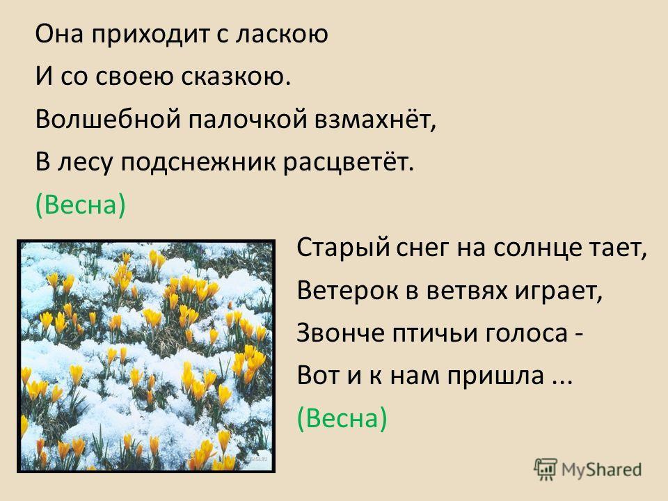 Она приходит с ласкою И со своею сказкою. Волшебной палочкой взмахнёт, В лесу подснежник расцветёт. (Весна) Старый снег на солнце тает, Ветерок в ветвях играет, Звонче птичьи голоса - Вот и к нам пришла... (Весна)