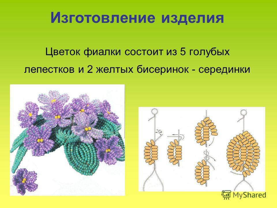 Изготовление изделия Цветок фиалки состоит из 5 голубых лепестков и 2 желтых бисеринок - серединки