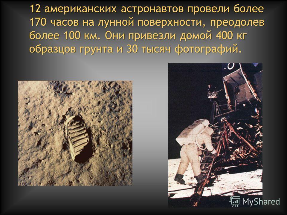 12 американских астронавтов провели более 170 часов на лунной поверхности, преодолев более 100 км. Они привезли домой 400 кг образцов грунта и 30 тысяч фотографий.