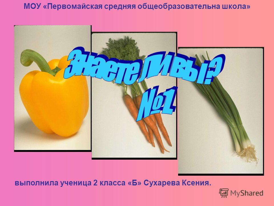 МОУ «Первомайская средняя общеобразовательна школа» выполнила ученица 2 класса «Б» Сухарева Ксения.