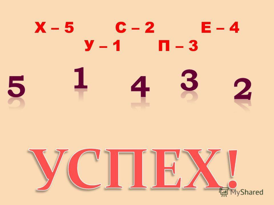 Х – 5 С – 2 Е – 4 У – 1 П – 3