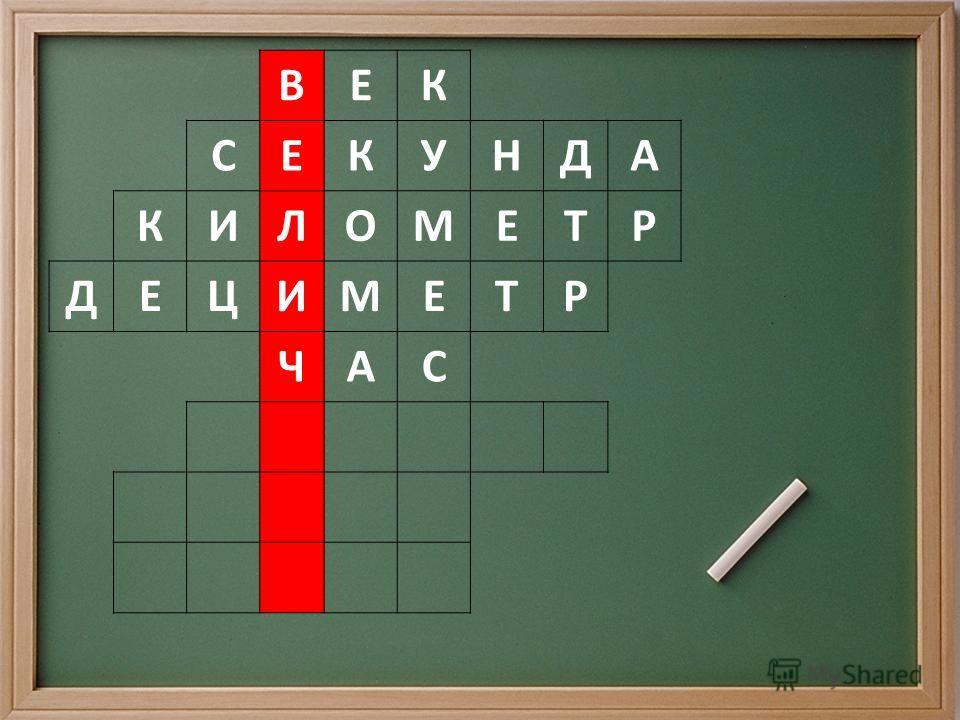 ВЕК СЕКУНДА КИЛОМЕТР ДЕЦИМЕТР ЧАС