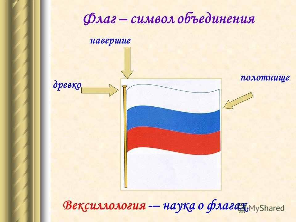 навершие полотнище древко Флаг – символ объединения Вексиллология -– наука о флагах.