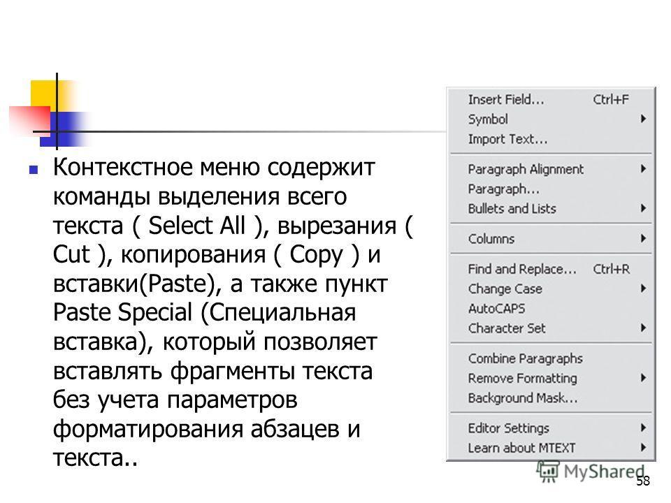 Контекстное меню содержит команды выделения всего текста ( Select All ), вырезания ( Cut ), копирования ( Copy ) и вставки(Paste), а также пункт Paste Special (Специальная вставка), который позволяет вставлять фрагменты текста без учета параметров фо