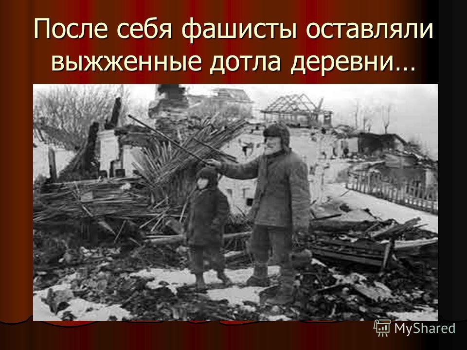 После себя фашисты оставляли выжженные дотла деревни…