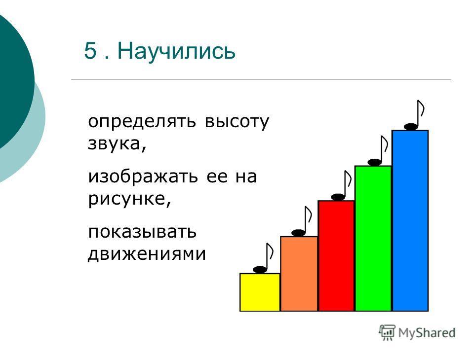 5. Научились определять высоту звука, изображать ее на рисунке, показывать движениями