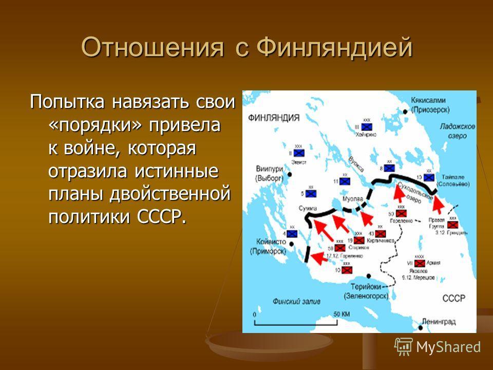 Отношения с Финляндией Попытка навязать свои «порядки» привела к войне, которая отразила истинные планы двойственной политики СССР.