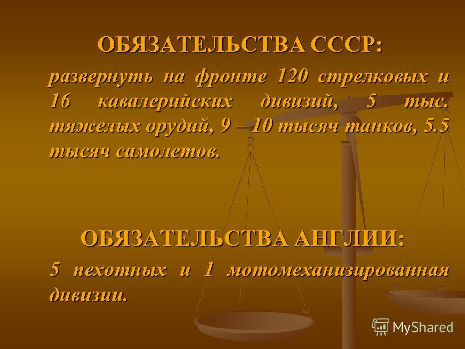 ОБЯЗАТЕЛЬСТВА СССР: развернуть на фронте 120 стрелковых и 16 кавалерийских дивизий, 5 тыс. тяжелых орудий, 9 – 10 тысяч танков, 5.5 тысяч самолетов. ОБЯЗАТЕЛЬСТВА АНГЛИИ: ОБЯЗАТЕЛЬСТВА АНГЛИИ: 5 пехотных и 1 мотомеханизированная дивизии.