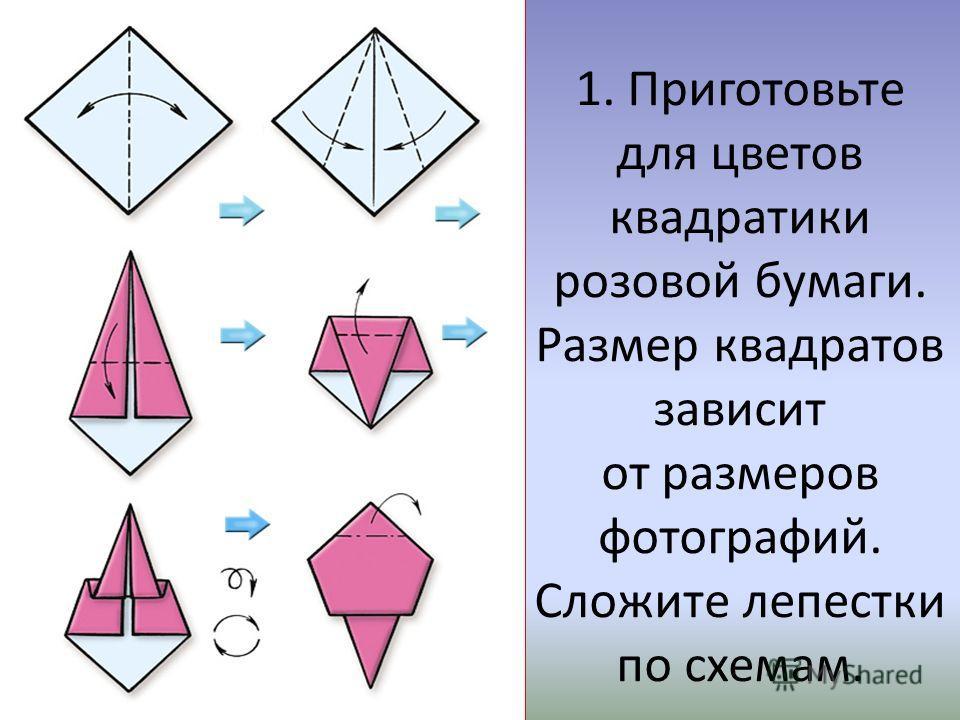 1. Приготовьте для цветов квадратики розовой бумаги. Размер квадратов зависит от размеров фотографий. Сложите лепестки по схемам.