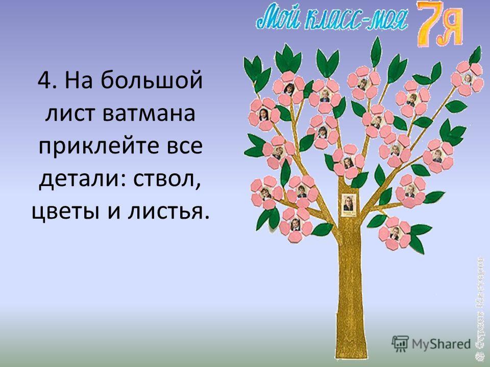 4. На большой лист ватмана приклейте все детали: ствол, цветы и листья.