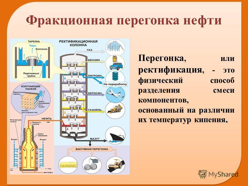 . Перегонка, или ректификация, - это физический способ разделения смеси компонентов, основанный на различии их температур кипения. Фракционная перегонка нефти