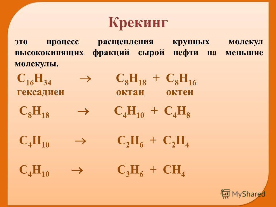 это процесс расщепления крупных молекул высококипящих фракций сырой нефти на меньшие молекулы. С 16 Н 34 С 8 Н 18 + С 8 Н 16 гексадиен октан октен С 8 Н 18 С 4 Н 10 + С 4 Н 8 С 4 Н 10 С 2 Н 6 + С 2 Н 4 С 4 Н 10 С 3 Н 6 + СН 4 Крекинг