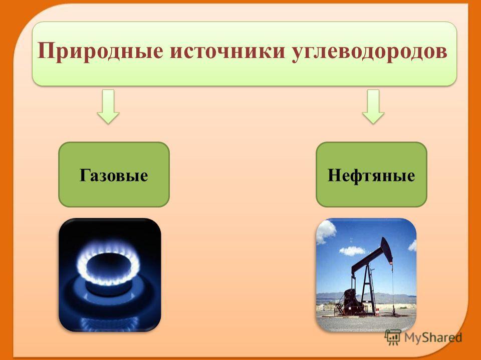 Газовые Нефтяные Природные источники углеводородов