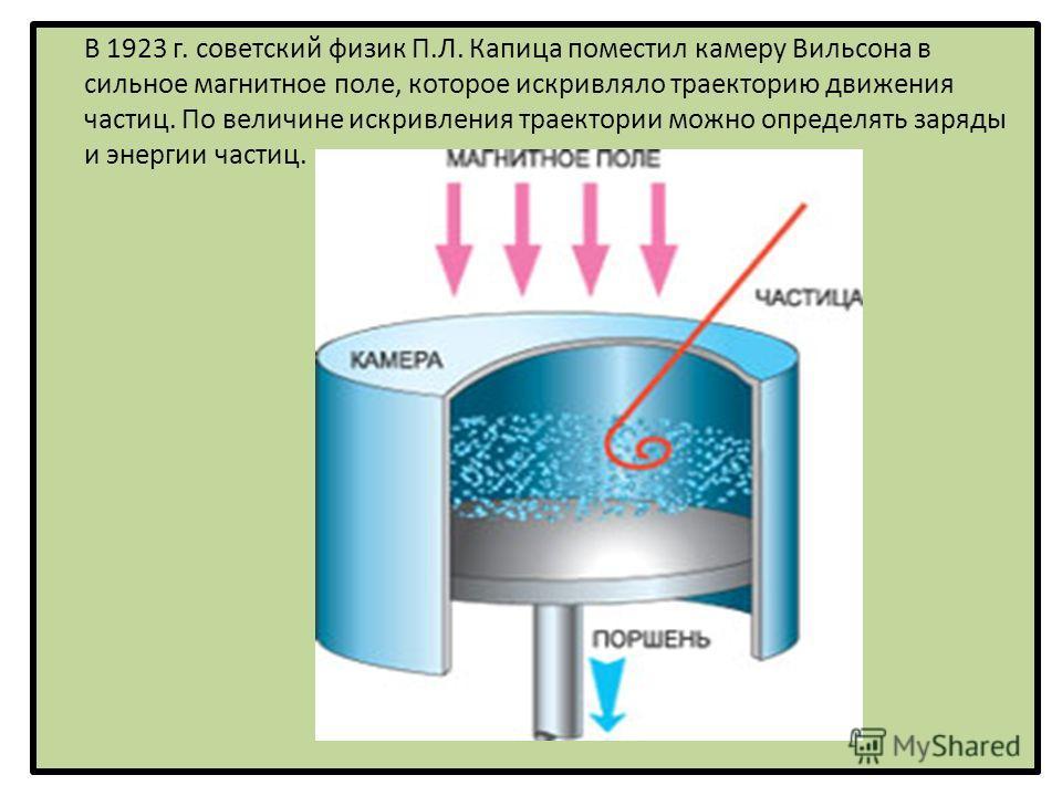В 1923 г. советский физик П.Л. Капица поместил камеру Вильсона в сильное магнитное поле, которое искривляло траекторию движения частиц. По величине искривления траектории можно определять заряды и энергии частиц.